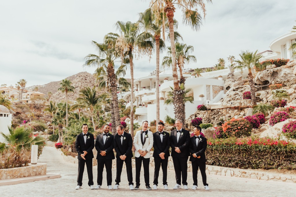 Tuxedos + sneakers for a classy and elegant Cabo wedding