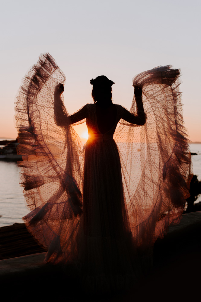Sunset Bridal Portrait, Mykonos, Greece!