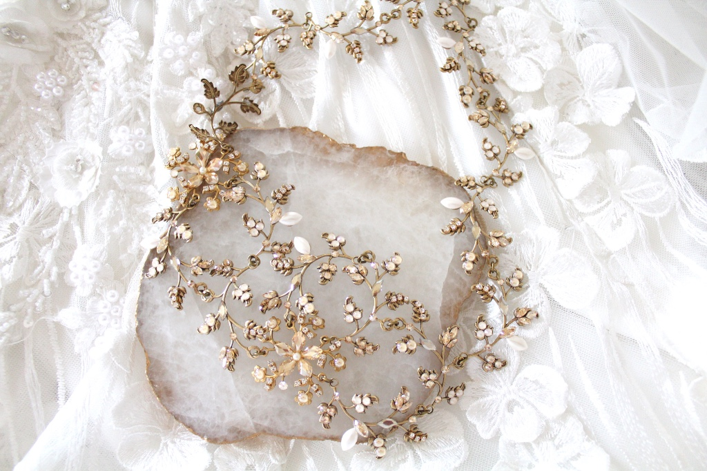 Handcrafted Antique gold Swarovski crystal bohemian bridal headpiece leaf headband created with clear, golden shadow and ivory cream