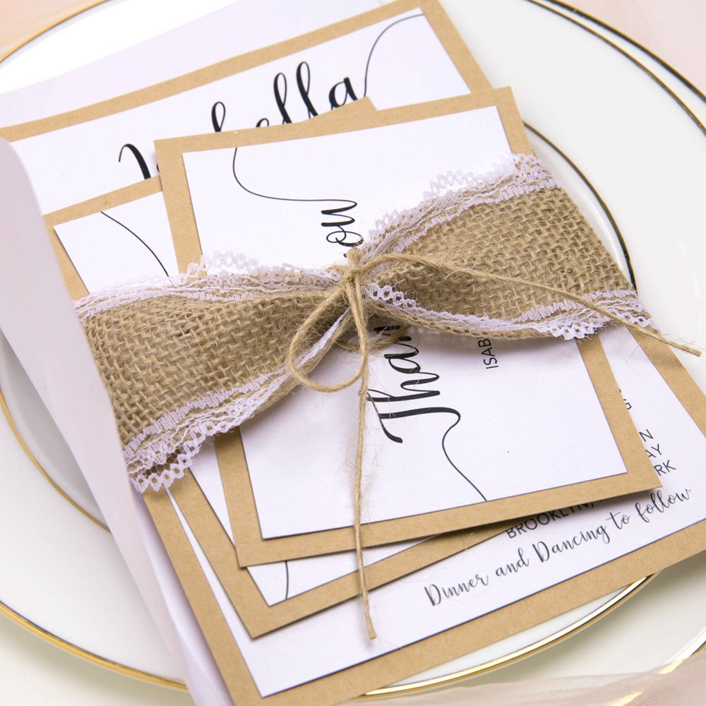 This invite set is able to make your eyes bright with bright white cardstock setting against the earthy backer.