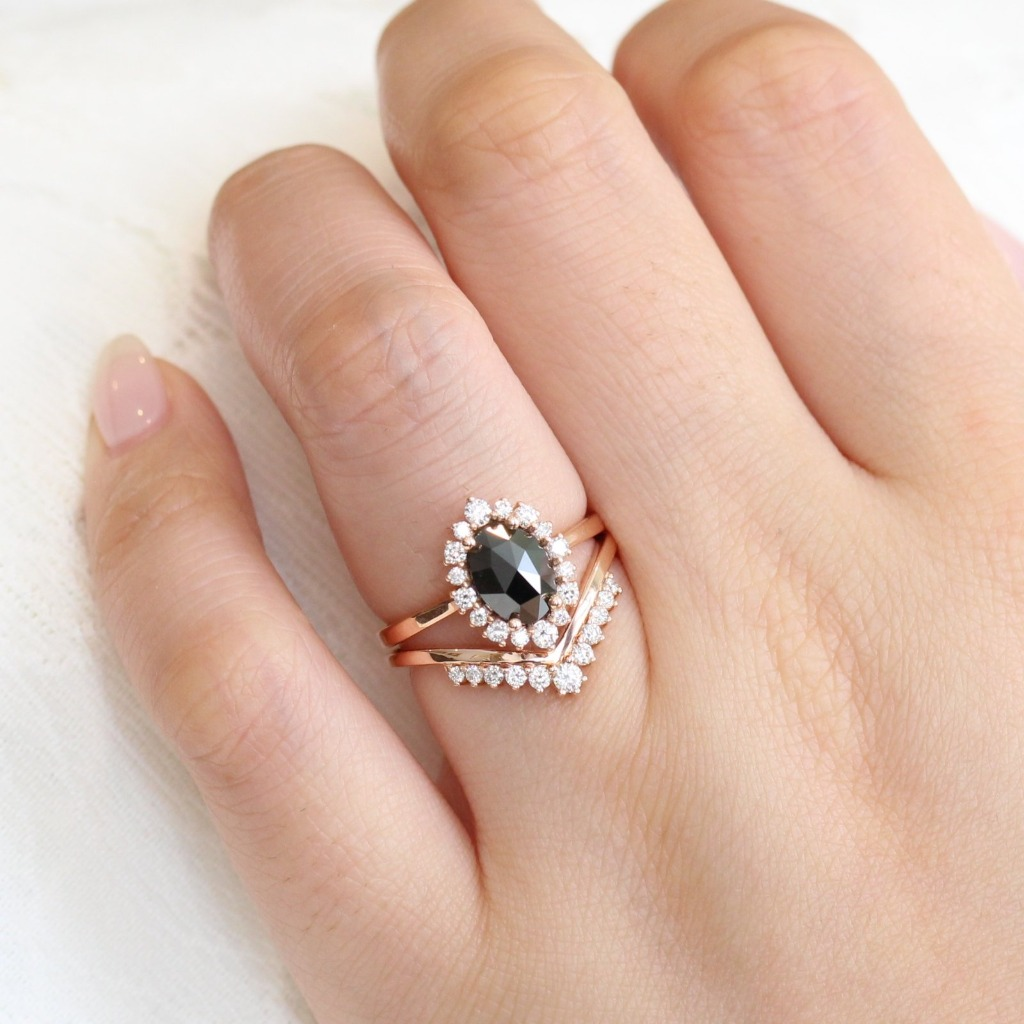 Unique Diamond Bridal Set~ Breathtakingly elegant rose cut diamond bridal set features a rose cut black diamond engagement ring in