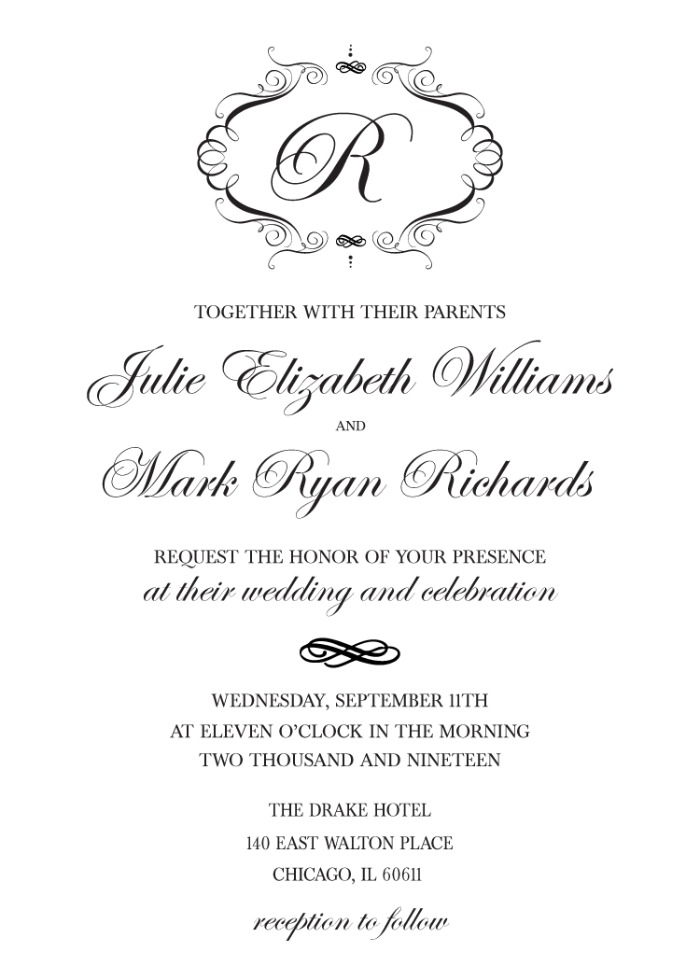 Print: Elegant Monogram Wedding Invite