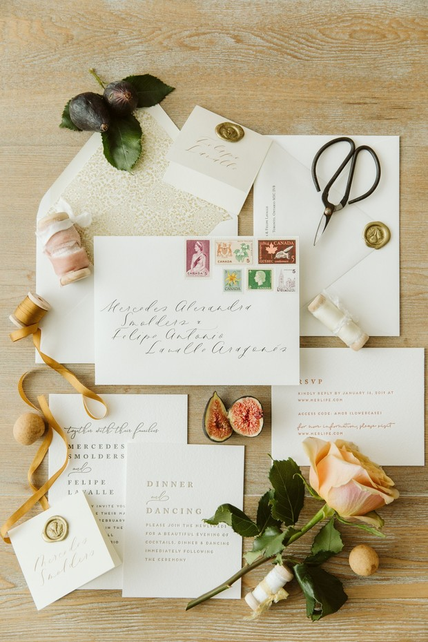 chic and simple wedding invitation suite