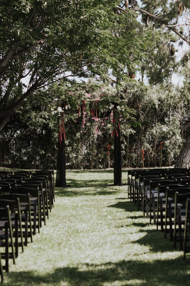 floral wedding arbor design