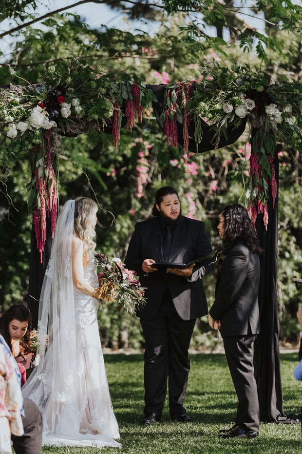wedding ceremony floral arbor design