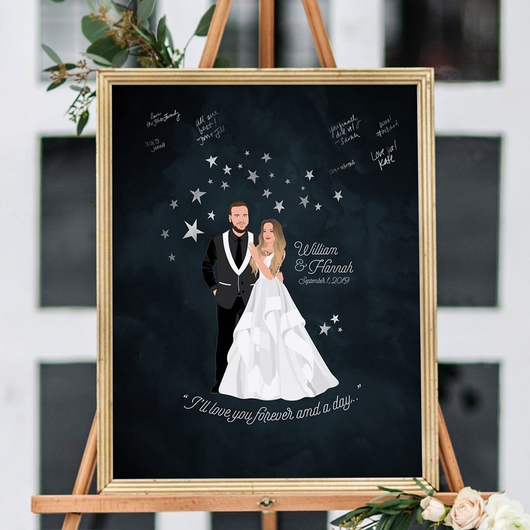 This sweet, celestial guestbook is making us ALL starry-eyed 🤩 Plus, the couple looks absolutely amazing. That dress with that tux