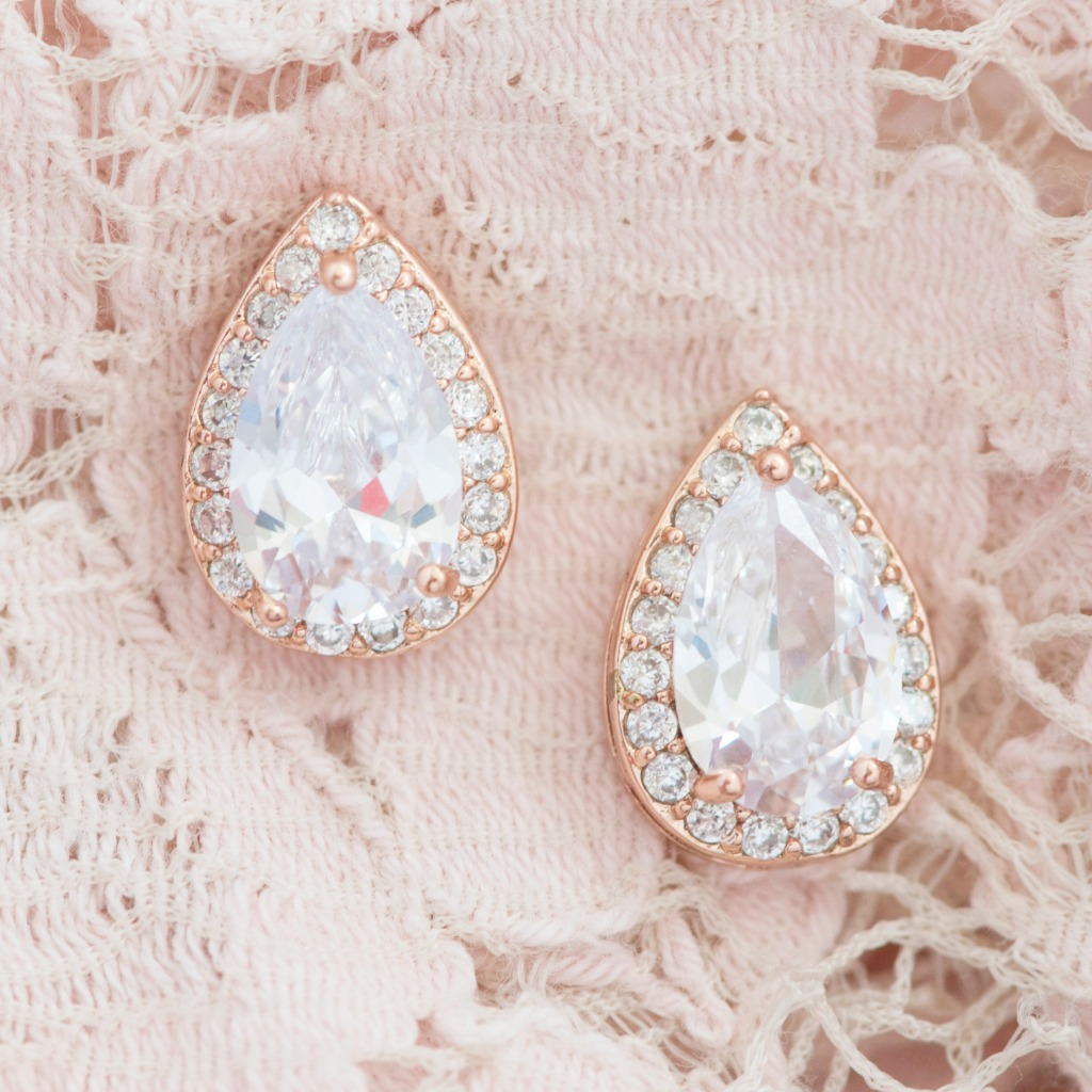 The Ava Teardrop Stud Wedding Earrings are a classic look for any modern bride. Available in gold, rose gold and silver, these bridal