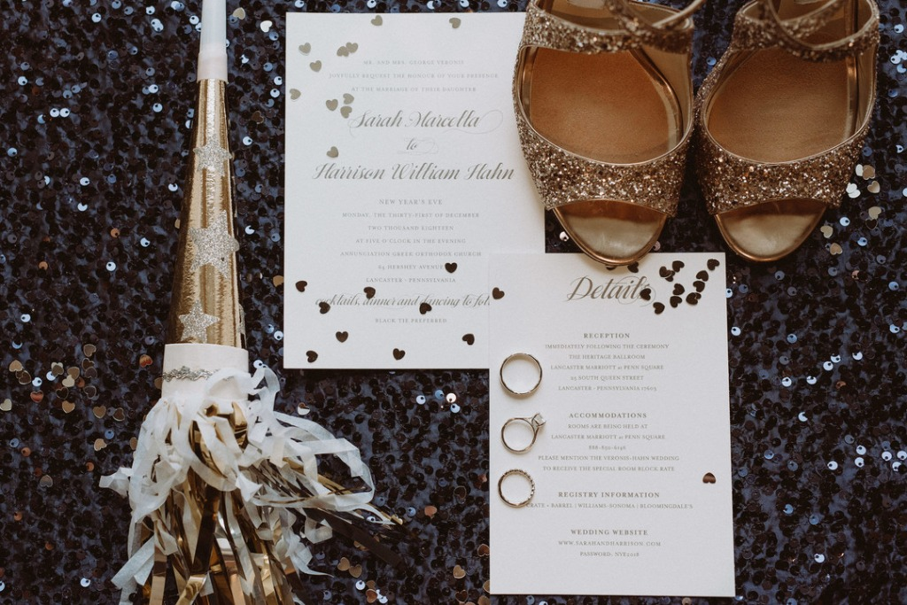 Sarah and Harrison's AMAZING custom invitation for an absolutely beautiful New Year's Eve wedding in Lancaster, Pennsylvania. Persnickety