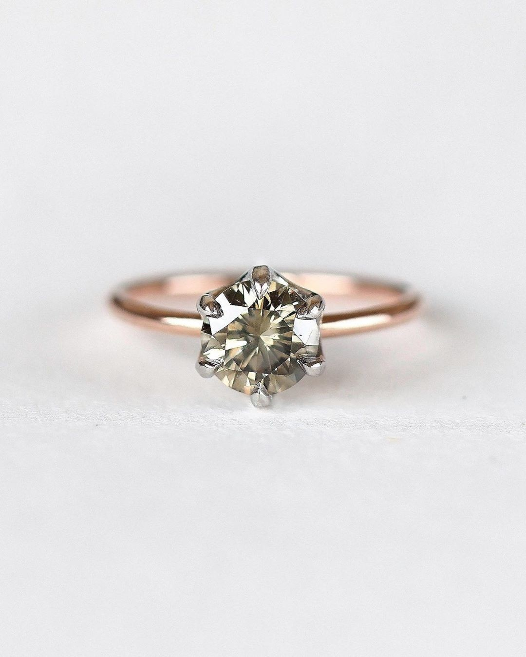 Unique & Rare Modern Vintage reclaimed fancy colored diamond and ethically handmade low-profile gold ring 💫💕✨