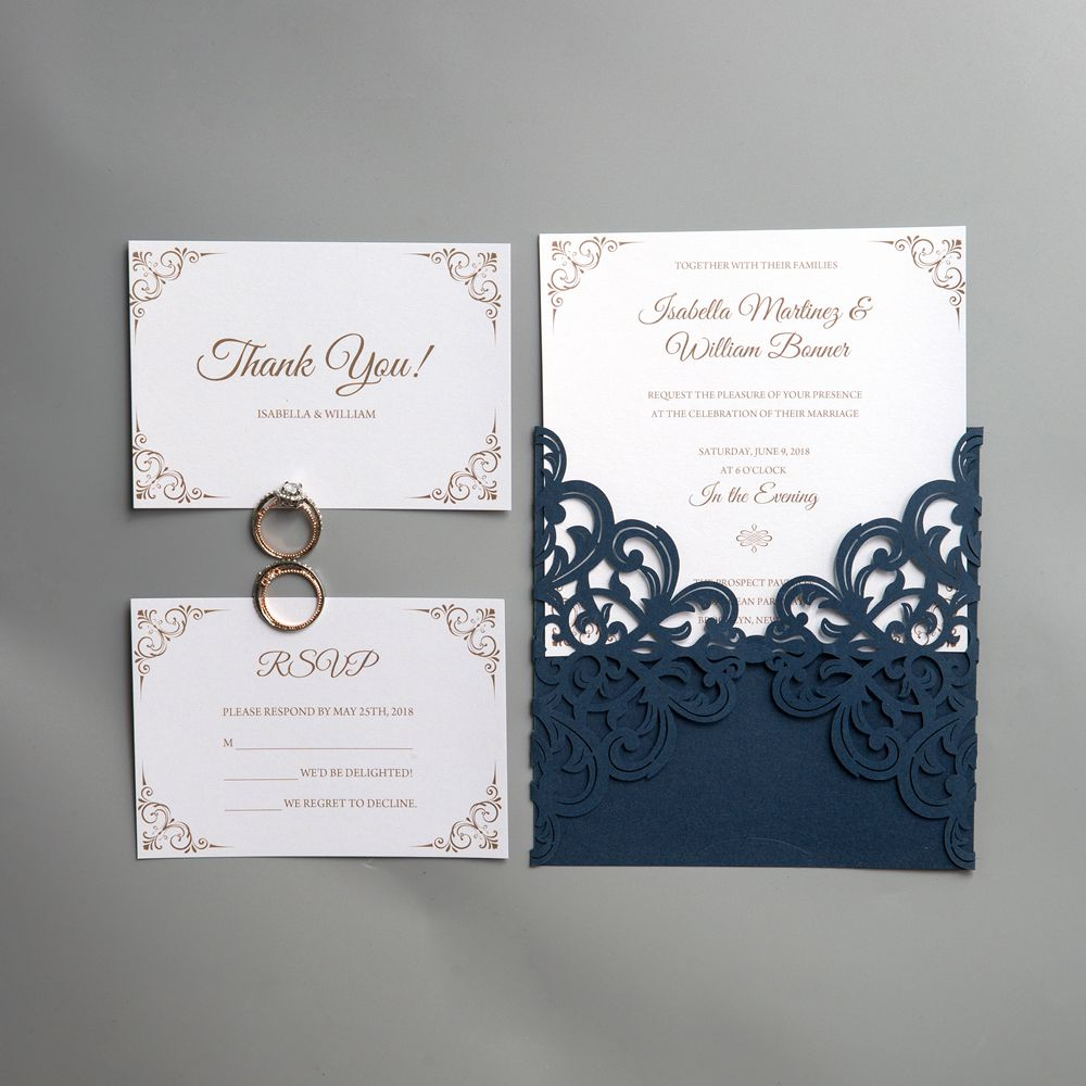 Navy blue will never go out of style! The invitation sets the tone of a wedding, adding a lively touch to romance, enjoyment and excitement