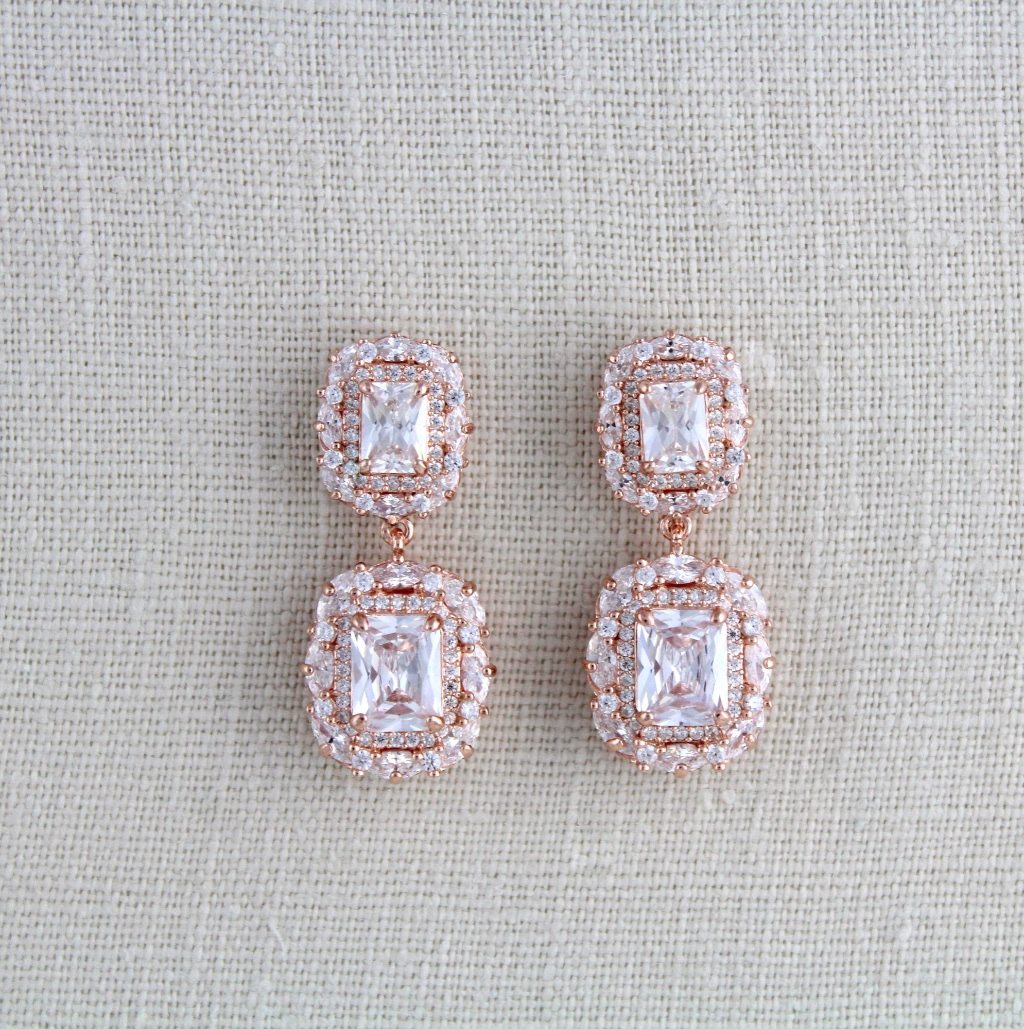 Rose gold plated over sterling silver emerald cut Bridal earrings with Swarovski Pure Brilliance stones. So stunning ! On the back