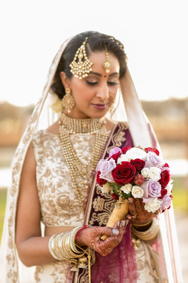 gold and burgundy wedding look