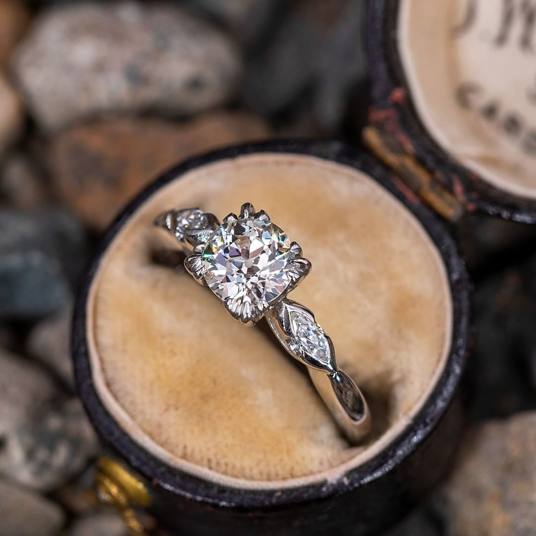 Vintage Old European Cut Diamond Engagement Ring w/ Marquise Accents
