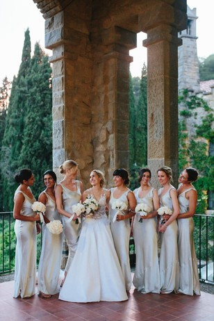 elegant wedding party in shimmery dresses