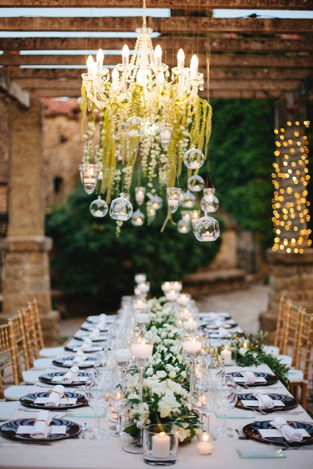 whimsical outdoor elegant white and green wedding table decor