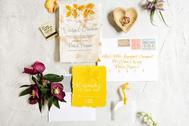 yellow and white wedding invitation suite