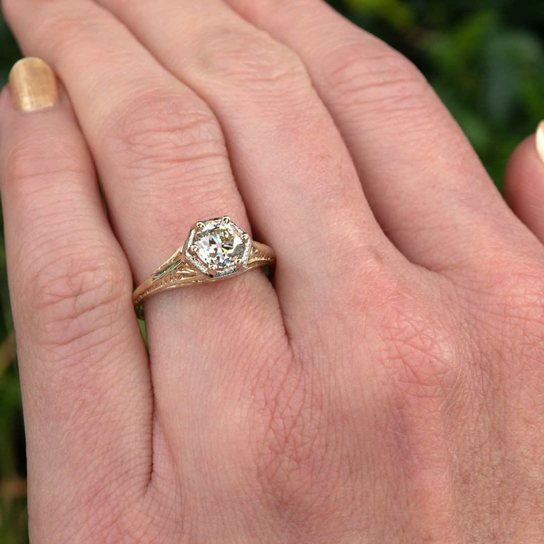 Antique Filigree Engagement Ring, 14K Yellow Gold, 1.04ct K/VS2 Old Euro Cut