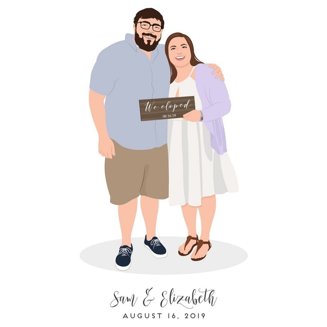 Surprise! Sam and Elizabeth eloped! 😍 They thought, what better way to tell our loved ones than with a custom design? We were so
