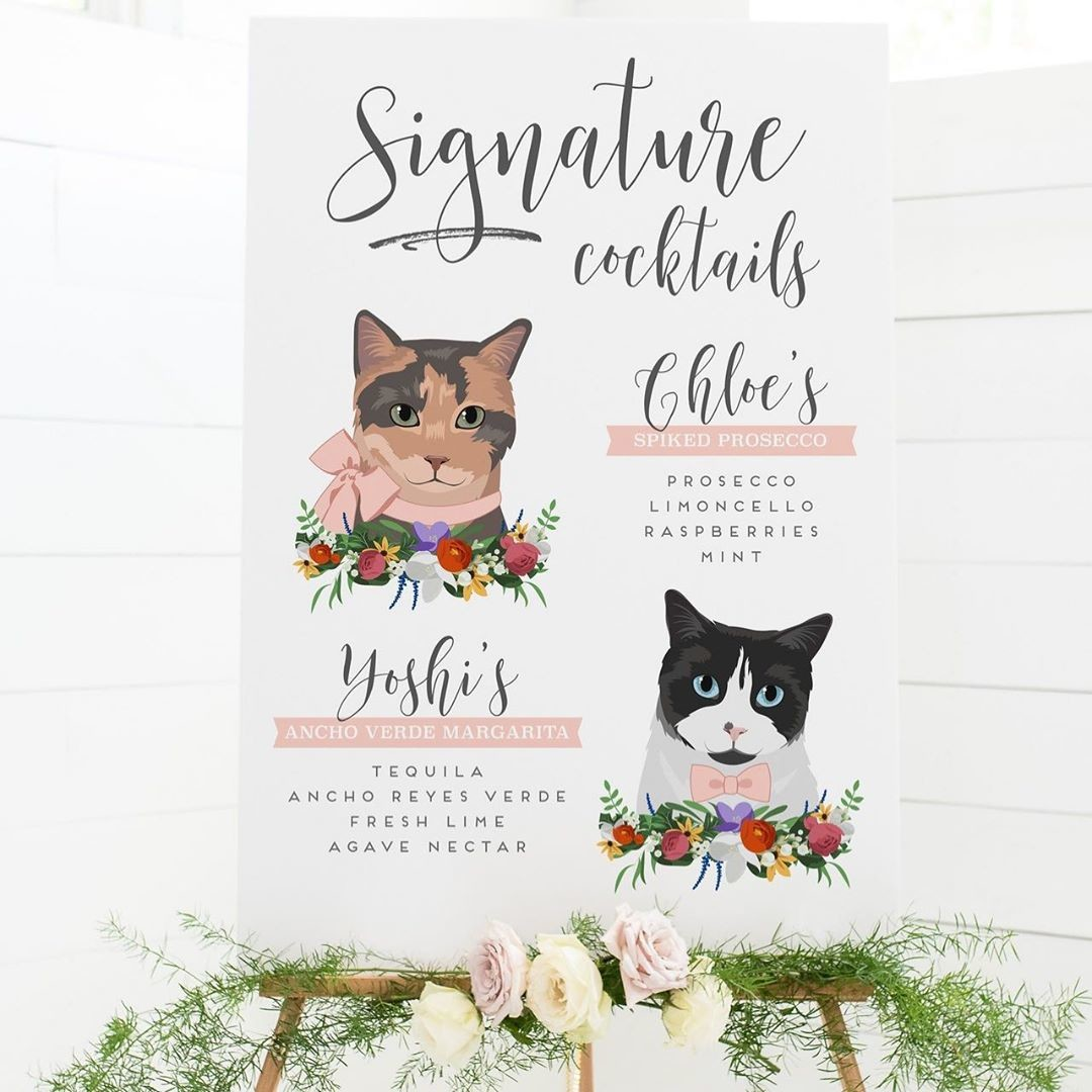 We love designing your pets for you, especially when they've got such purr-sonality! 😻 A custom cocktail sign is a paw-fect way