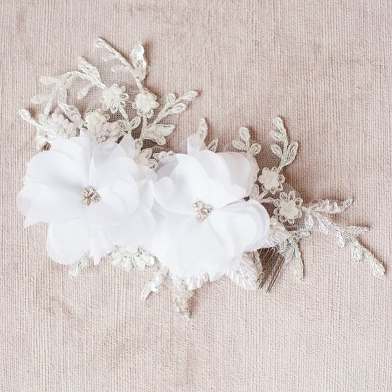 Our beautiful double chiffon flower headpiece (style 2013) features hand cut chiffon, lace, beads, rhinestones, pearls and vintage