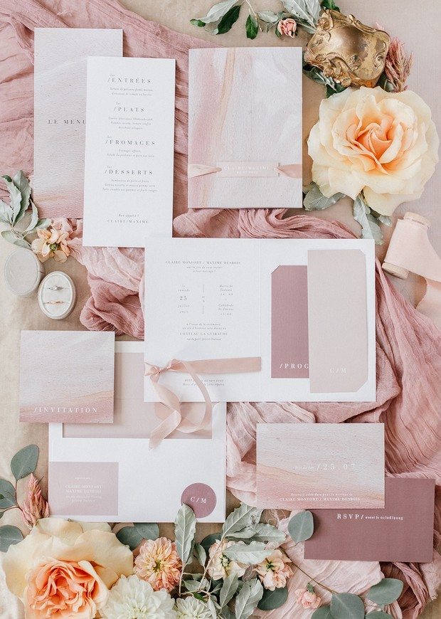 romantic dusty rose and blush wedding invitation suite