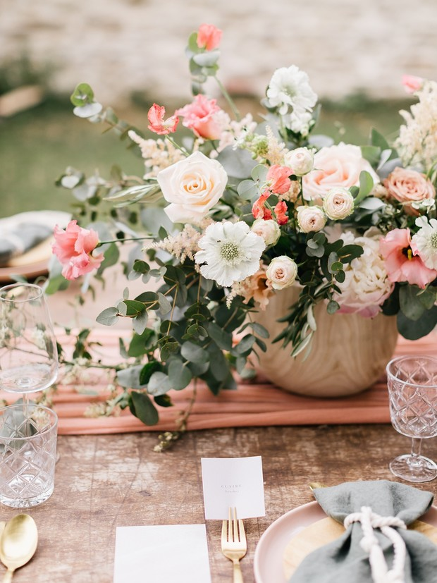 pink and white wedding floral decor