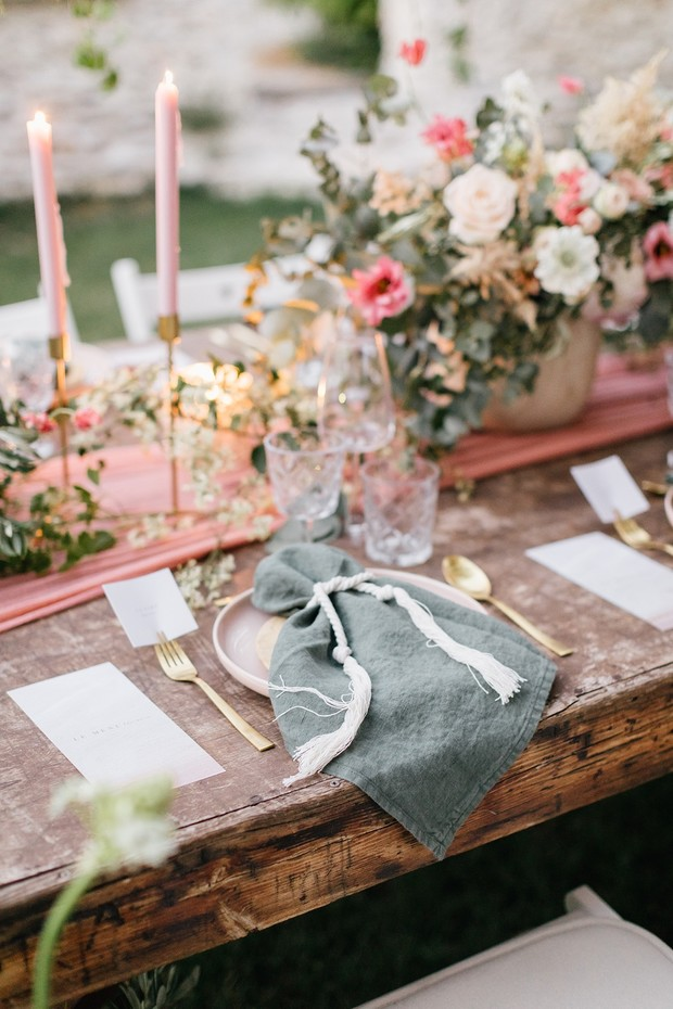 pink and gold rustic chic wedding table decor