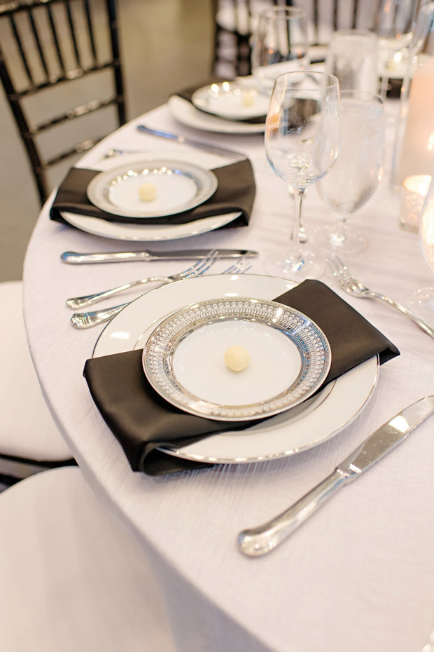 black and white wedding place setting
