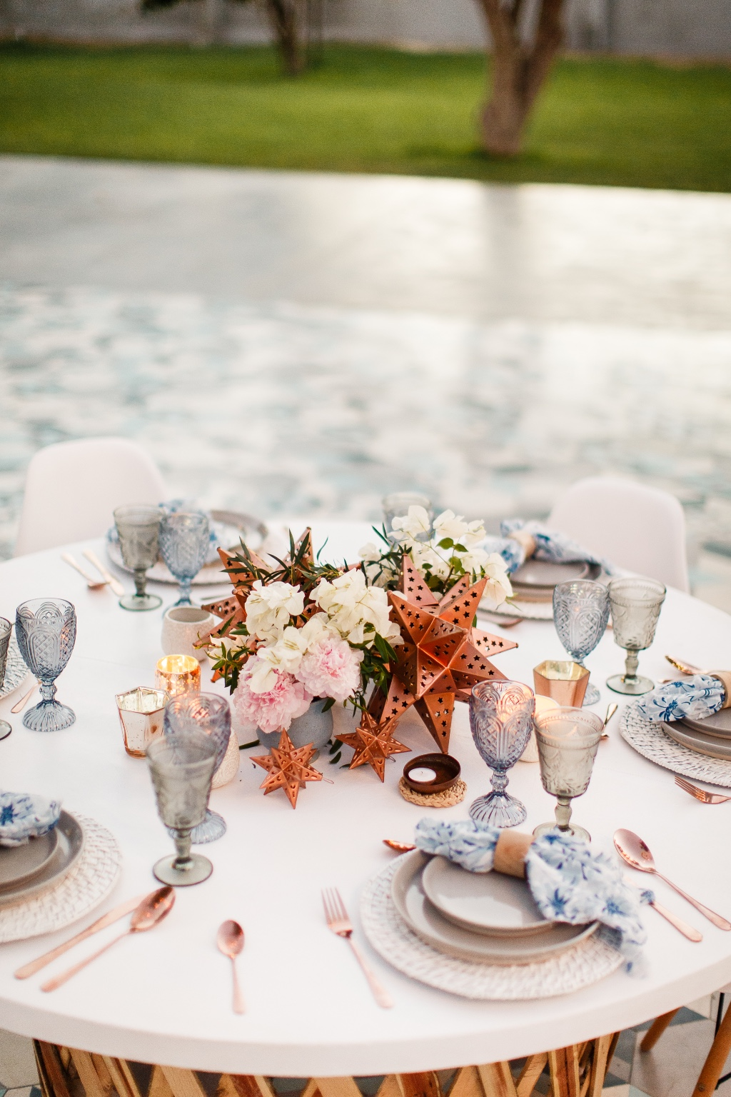 Copper and blue for this stunning styling shoot