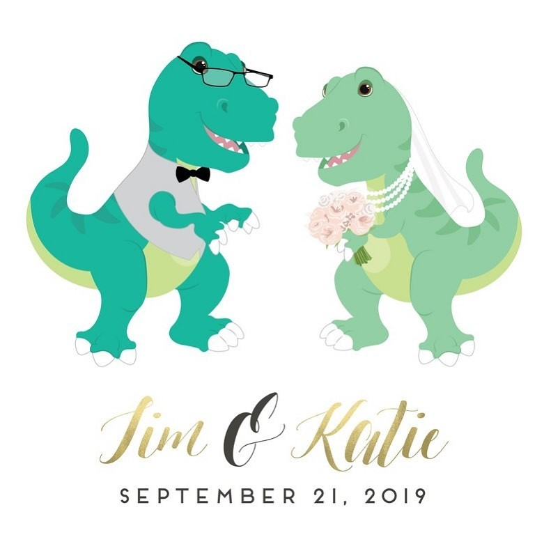 This custom design is DINO-mite! 🦖 We love the unique, fun ideas our clients come up with, and this couple is no exception! We bet