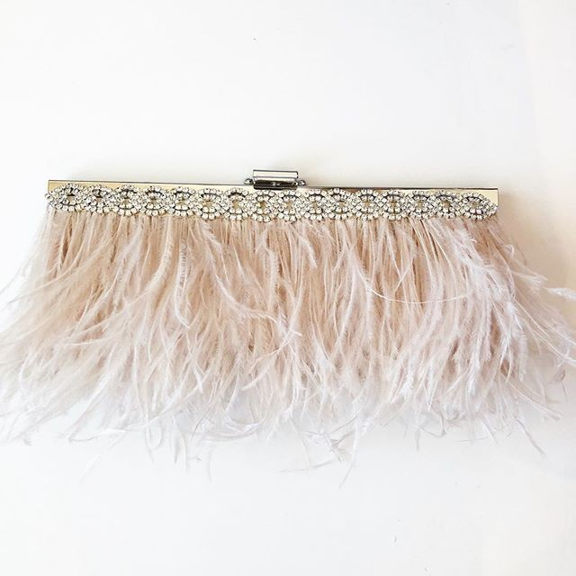 Sometimes all you need your Fall wedding is a gorgeous Blush ostrich feather clutch