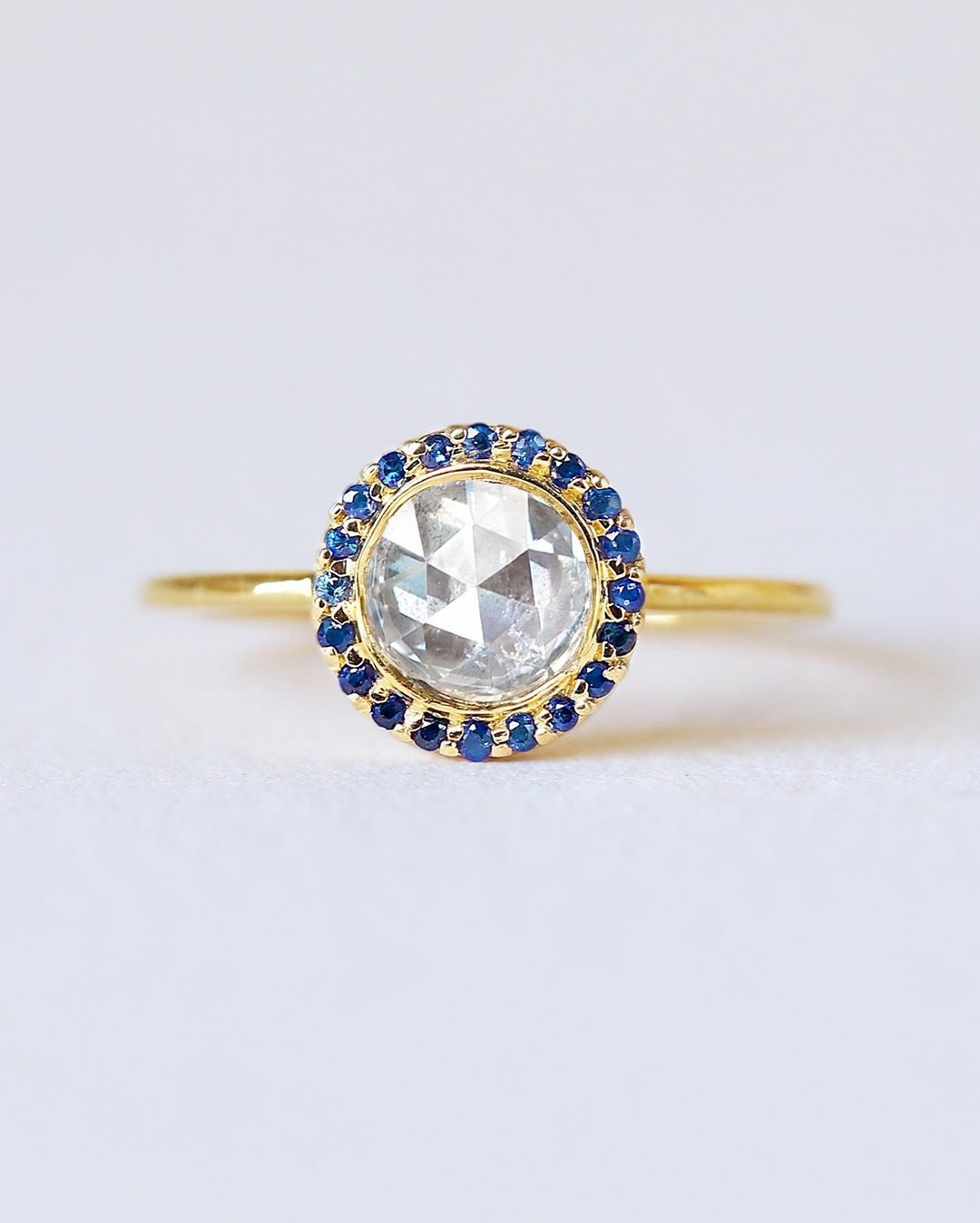 Are you a diamond lover but also want some sapphire goodness? Take a look at this oh so lovely and low profile antique rose cut diamond