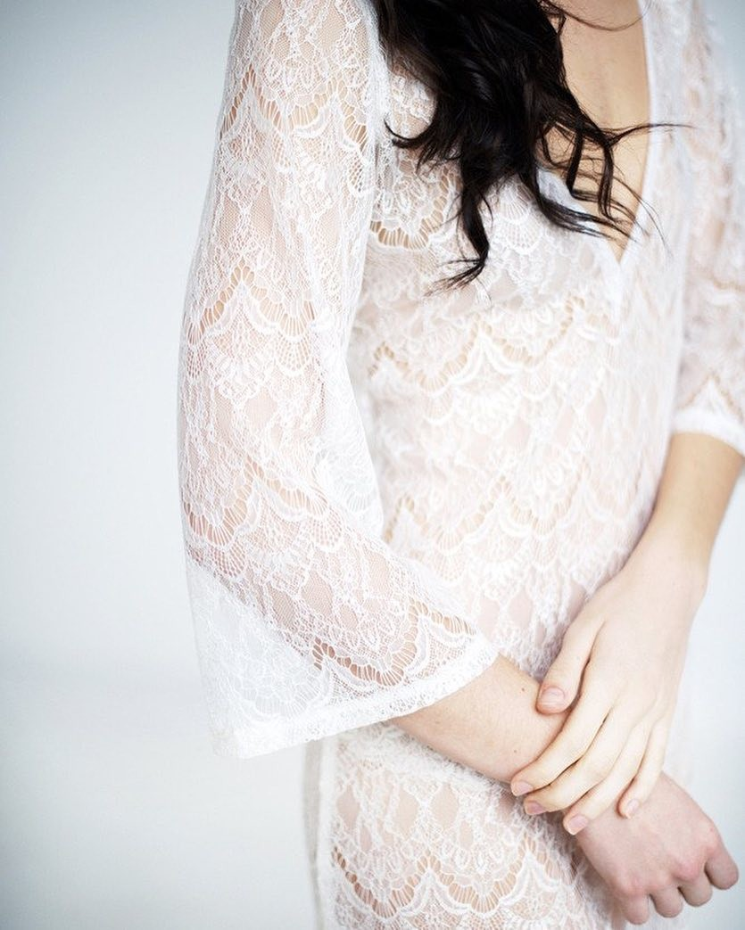 Our sheer lace tunic Priscilla features soft lace, French seams and a beautiful three quarter sleeves. Photo by