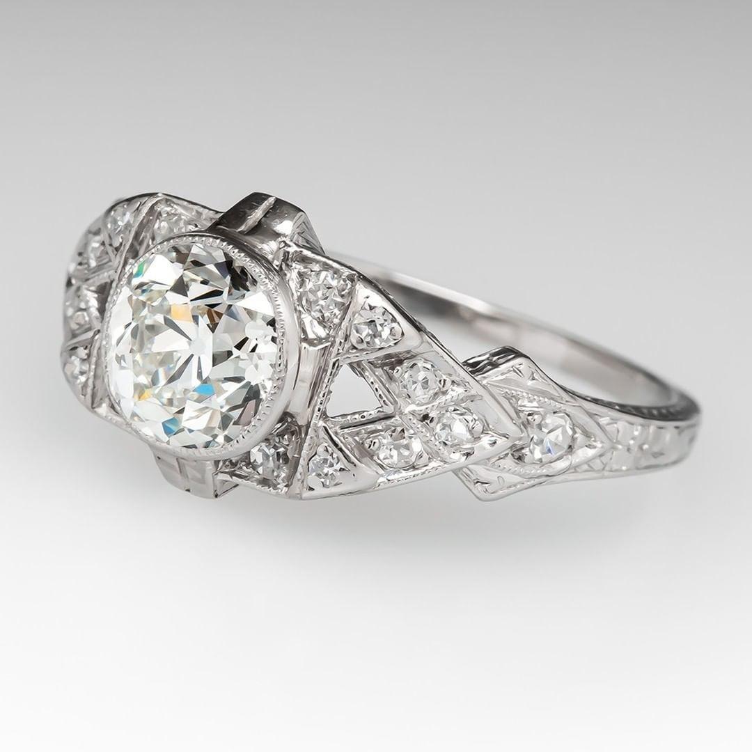 1920s Antique Engagement Ring, 1.08ct J/VS1 GIA
