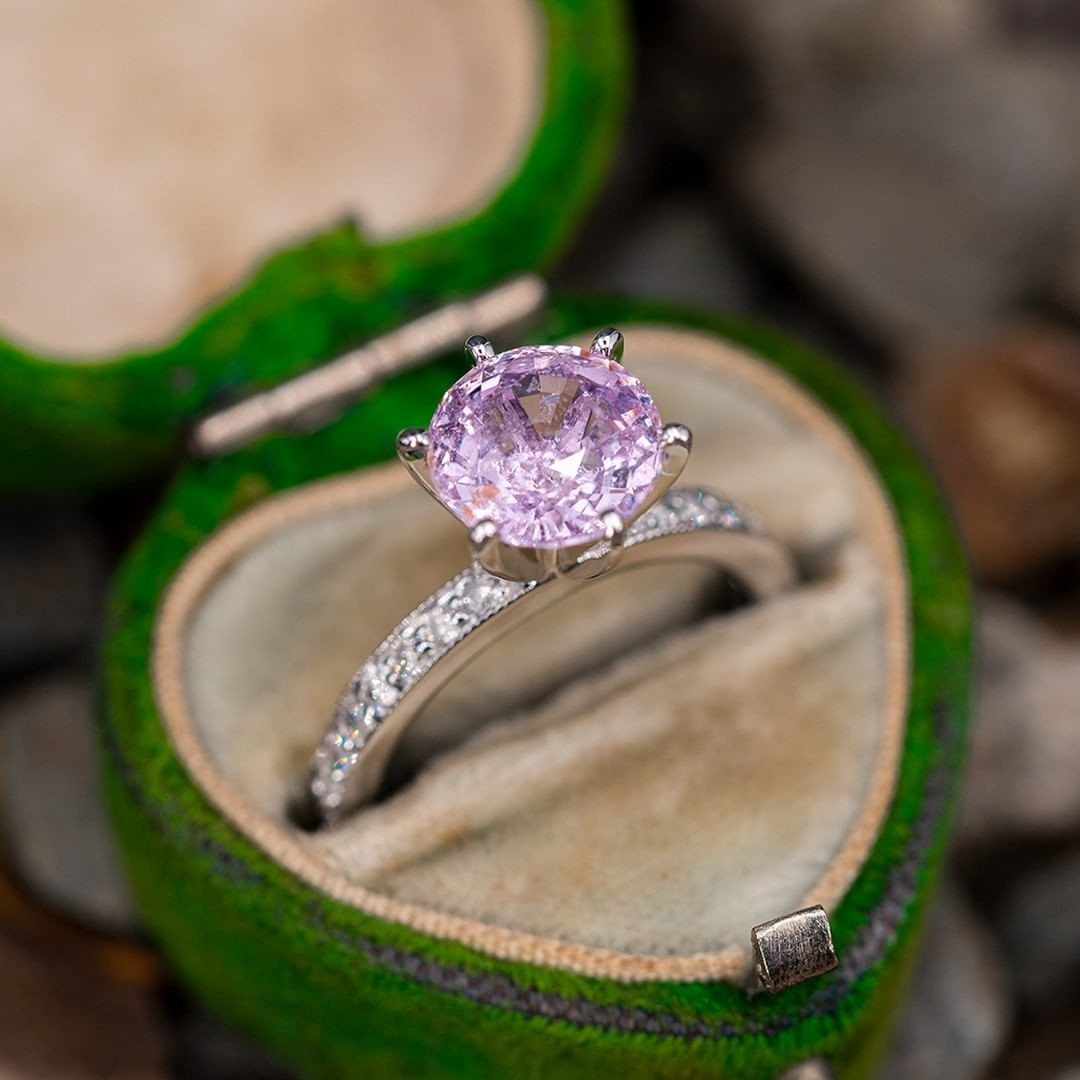 2.6 Carat Light Pink Sapphire Solitaire w/ Accents