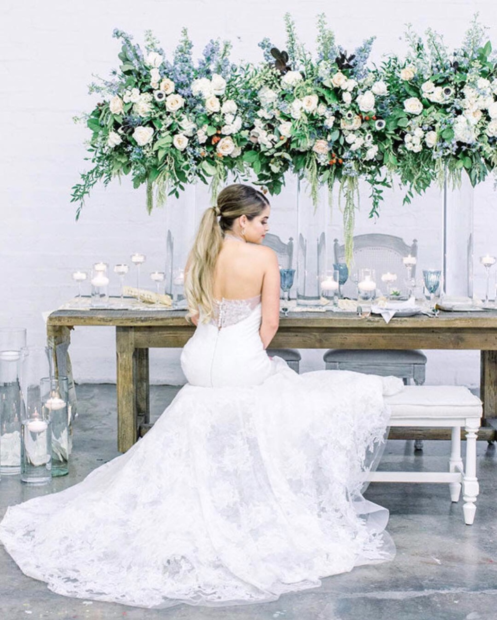 Gorgeous bride and table-scape of ethereal blue and cream floral.