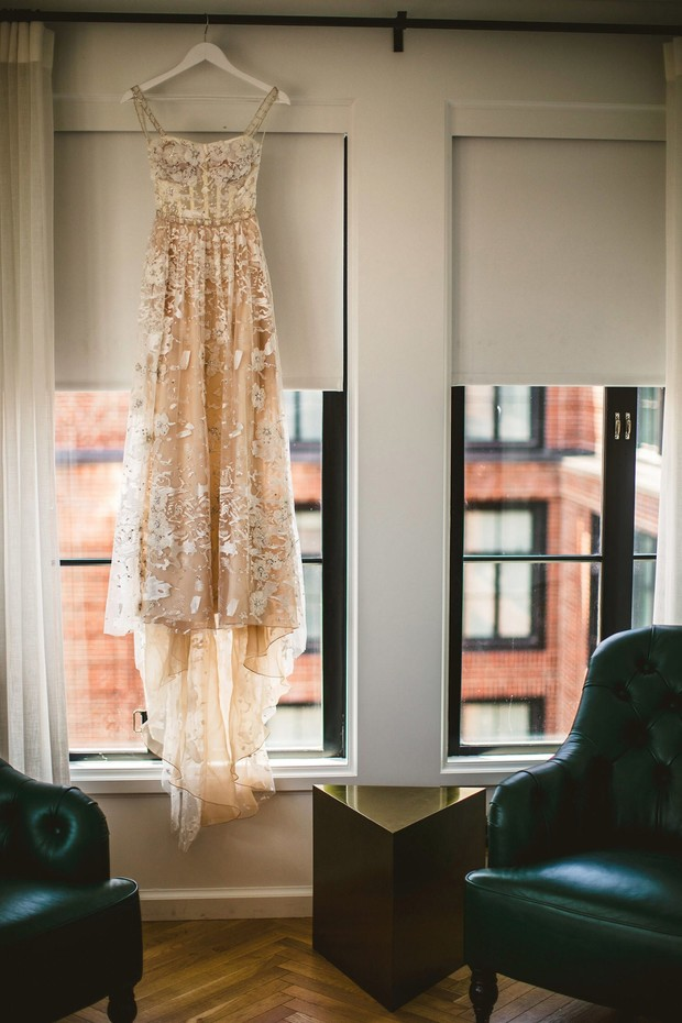 gorgeous nude wedding dress with lace appliques