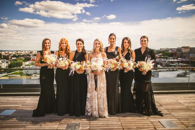 modern bridesmaids in mismatched dresses