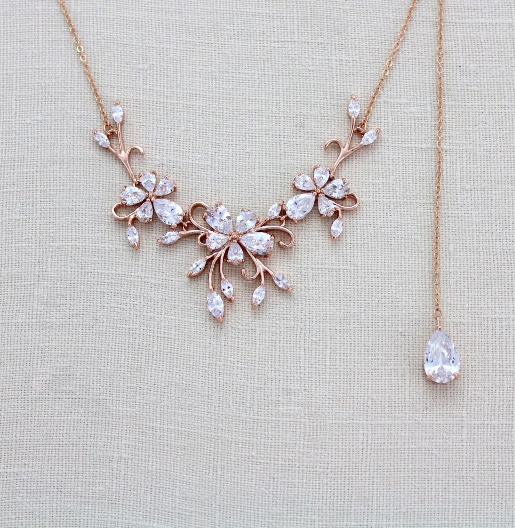 Dainty Rose gold CZ Bridal Back drop necklace that you can choose with or without the backdrop.
