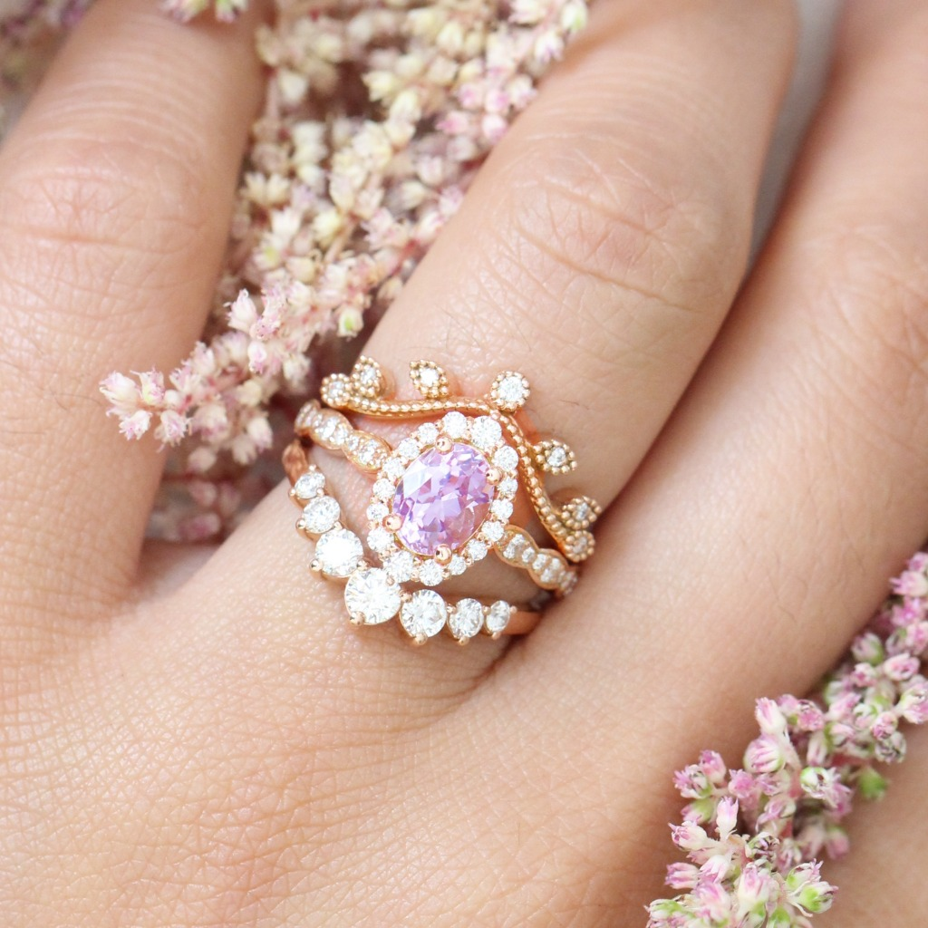 Check out this gorgeous unique trio ring stack!! This gorgeous lavender purple sapphire ring showcases a 1.55 carat one of a kind oval