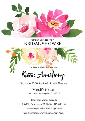 Gold Floral Editable Bridal Shower invitation