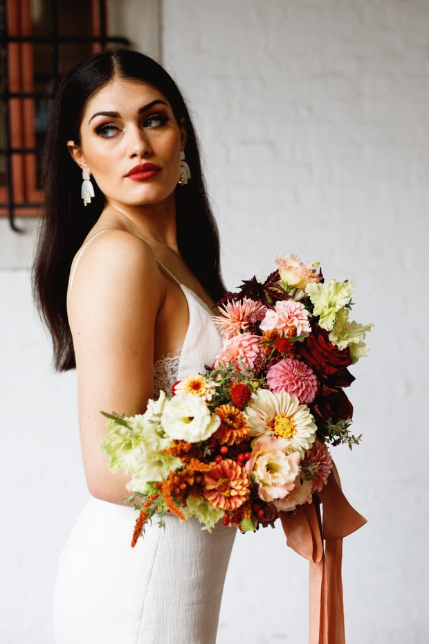 pink orange white and red fall wedding bouquet