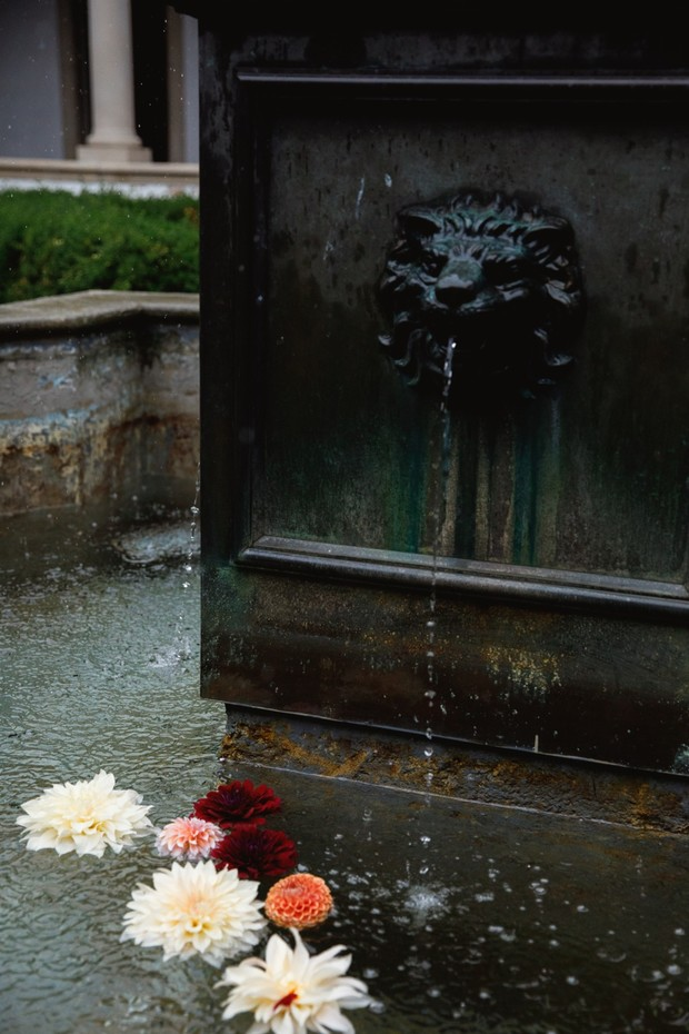 floating flowers in a fountain