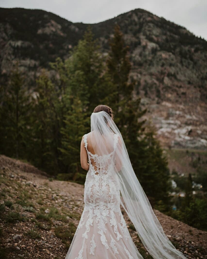 Frances came to us with one specific dress in mind: a crepe, long-sleeve wedding dress. When her mom and grandma insisted she try on