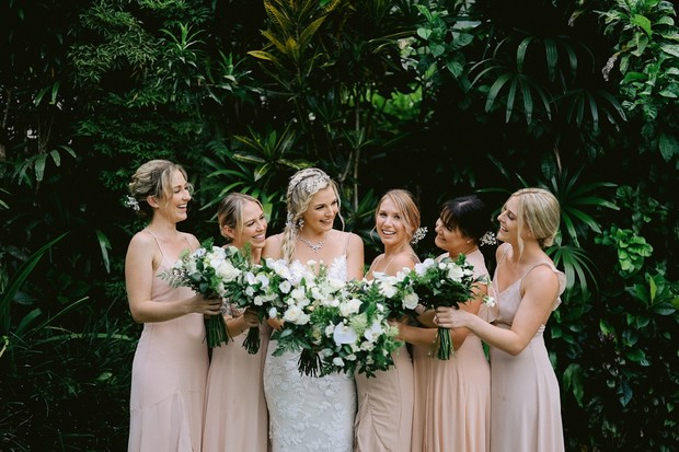 wedding party in blush and white