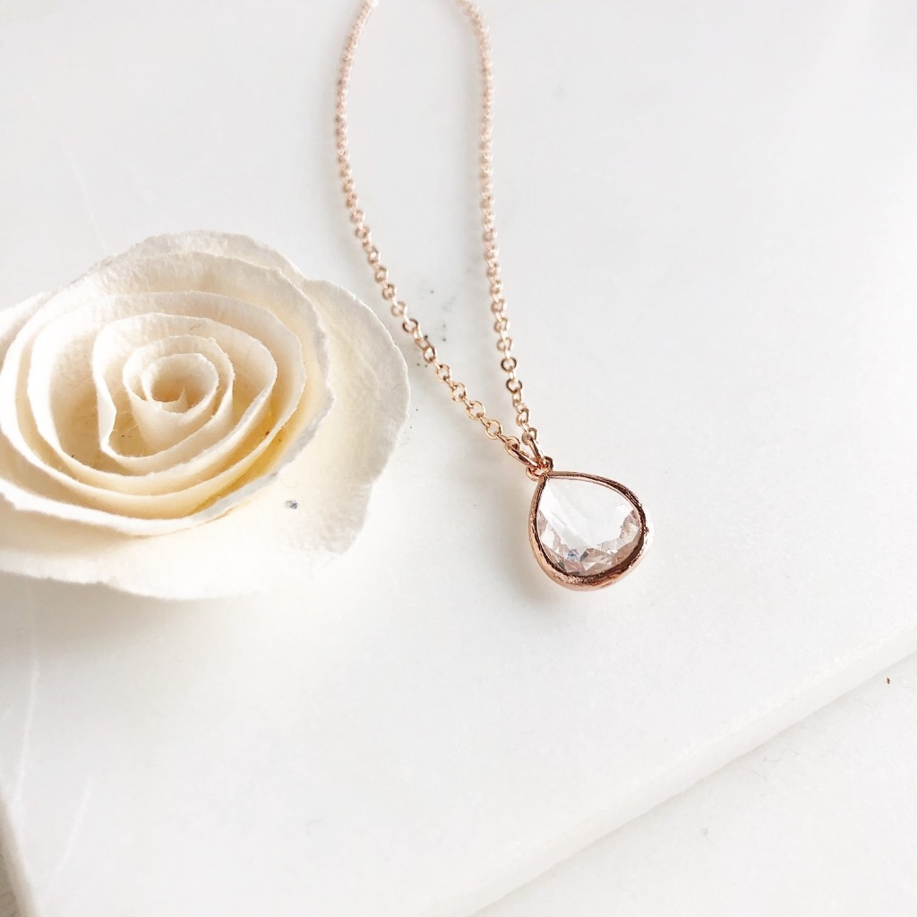Sweet rose gold teardrop necklace, on either rose gold plated or 14k rose gold filled chain.