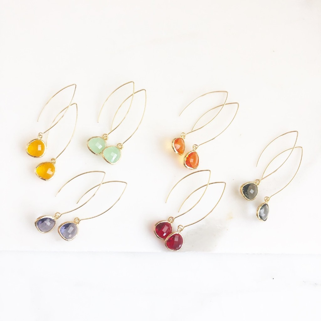 Colorful marquise colorful wide teardrop earrings in gold. Perfect for the whole bridal party!