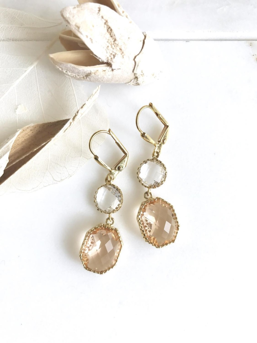 These earrings are lovely and feminine and just stunning. The unique faceting on the champagne pendant is truly gorgeous.