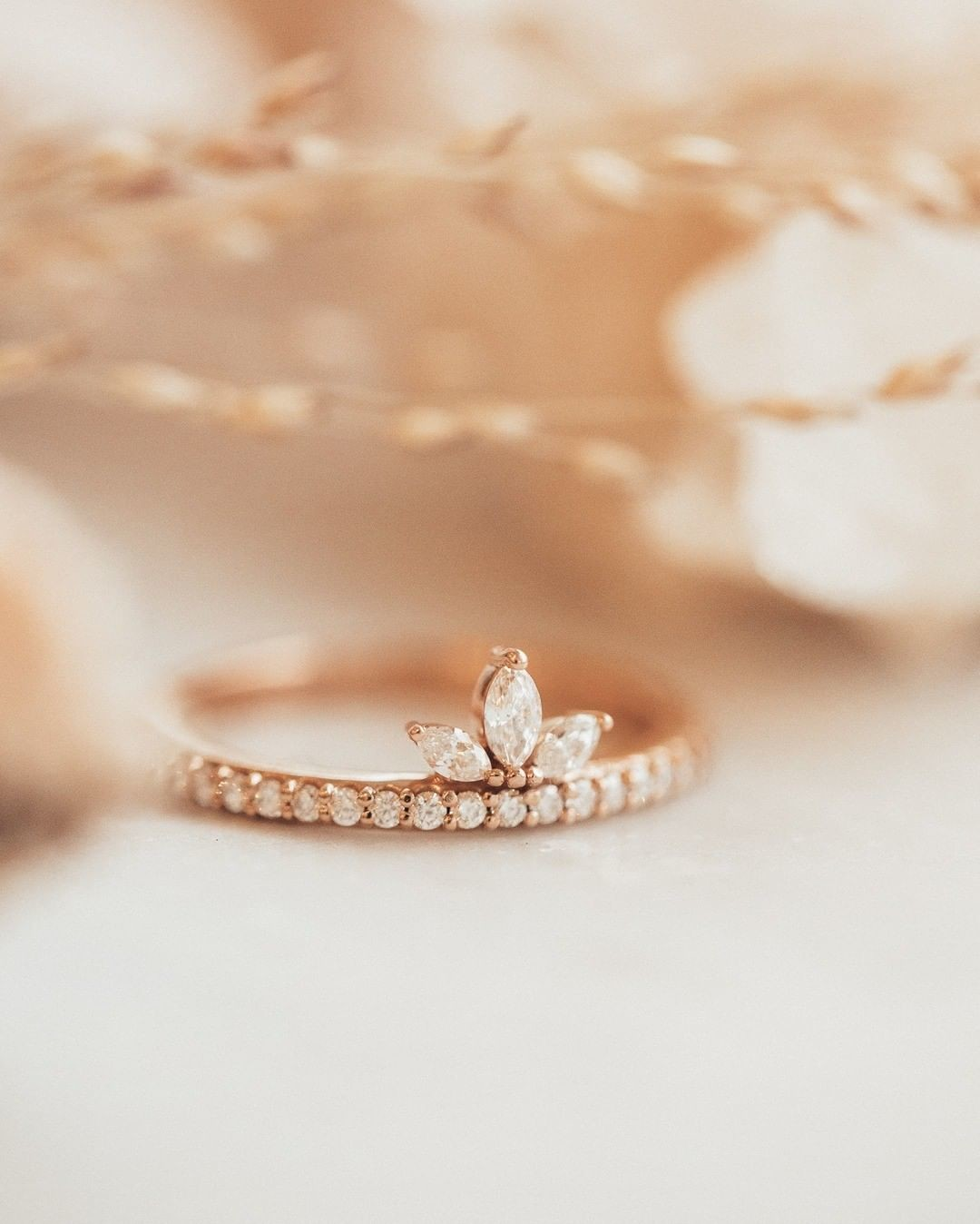 In love with this brand new marquise and pave diamond band in 14k rose gold. Shop this beauty online now.