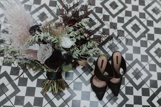 grey and black rose wedding bouquet